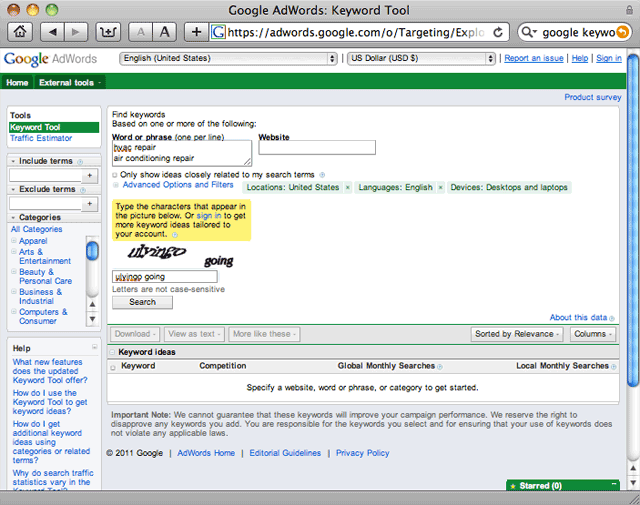 Google Adwords: Keyword Tool Screenshot