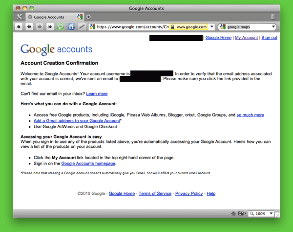 Screen shot of Google Accounts: Account Confirmation page.