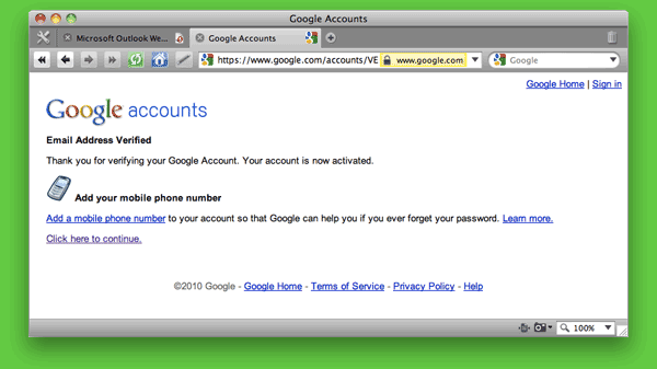 Screen shot of Google Accounts: Email Address Verified page.