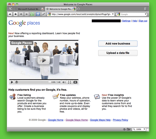 Screen shot of Google Places (i.e., Google Local or Google Maps) Sign Up page.