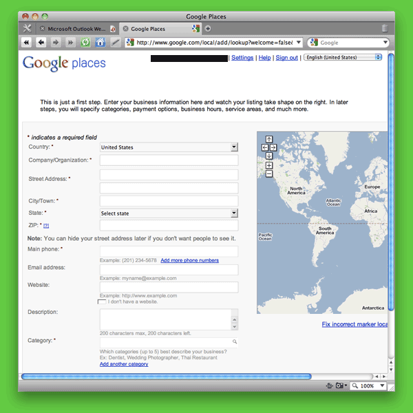 Screen shot of Google Places: Add New Business Survey page.